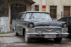 An old Chaika. Production ceased until 1981, but ever since 1959 it has been a symbol of the members of the elite in Soviet times. Not available to ordinary citizens.