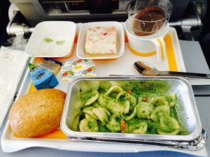 Airplane food at its best - pasta with beermat texture and no flavour at all.