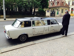 What the world has always been waiting for: the Trabant as stretch limousine - and you think Germans don't have a sense of humour.