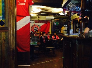 Avid Bayern fans in Almaty. The picture doesn't even remotely picture the enthusiasm, and for that matter, the number of fans who support Bayern Munich.