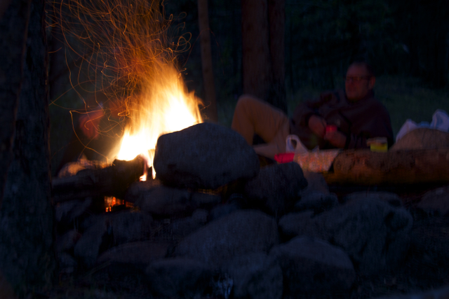 Nothing nicer than a camp fire after a day of hiking. Good company and a bottle of whisky helps, too.