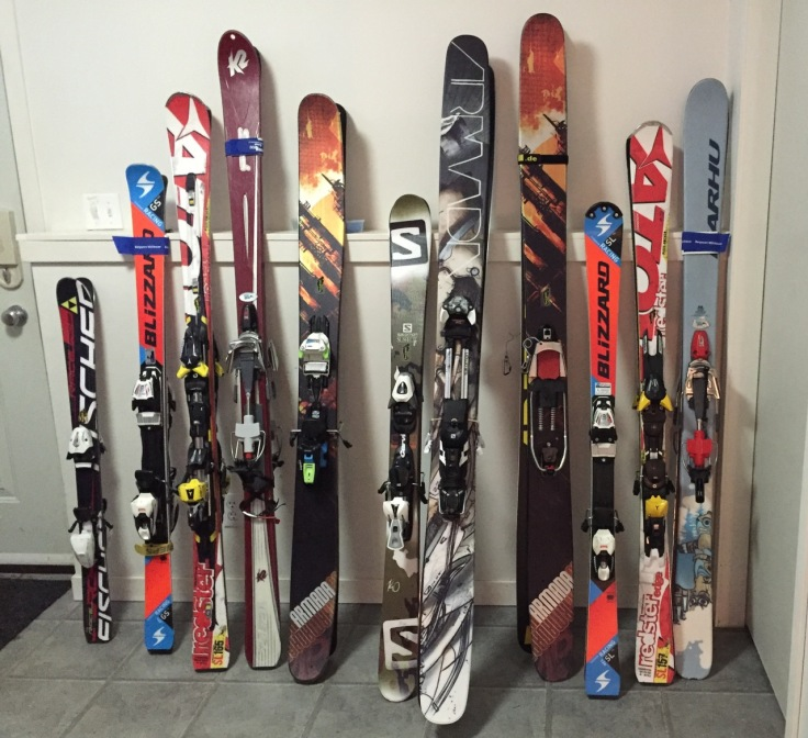 Thou shalt not ski on one ski only - our equipment for the next few months.