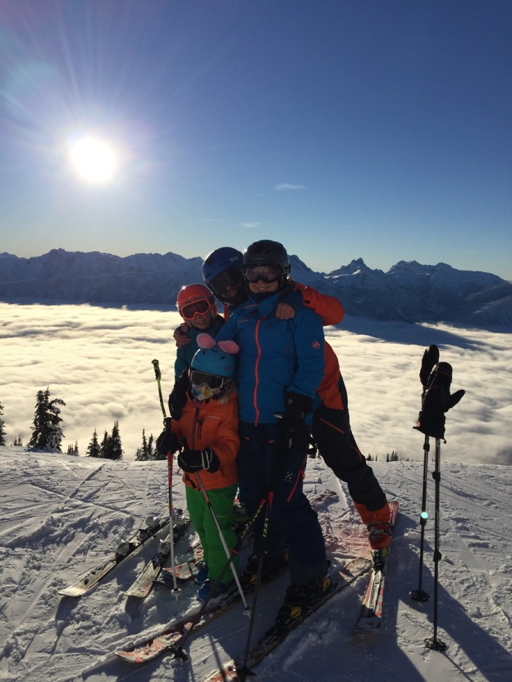 The Breadbaskets on a beautiful day on top of the lift system in the Revelstoke Mountain Resort.