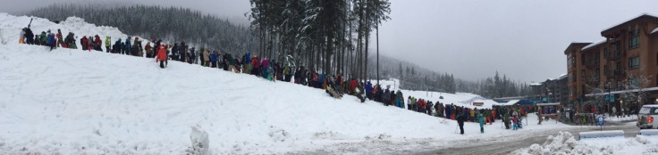 The lift queue on a huge snow day at Revelstoke Mountain Resort at 8.30am. Not even the hat of Gnorm showed.