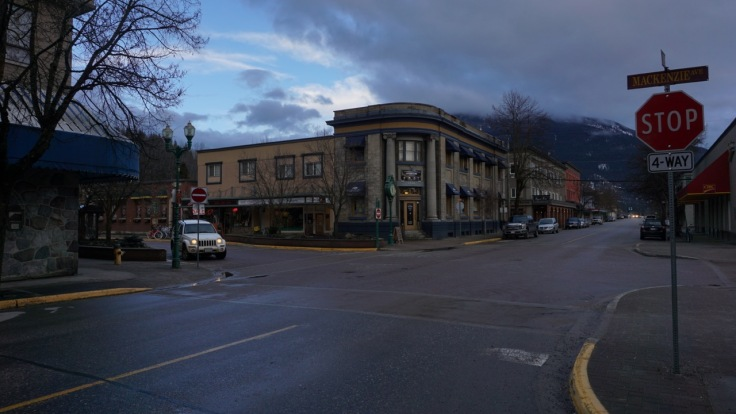 Dusk in downtown Revelstoke