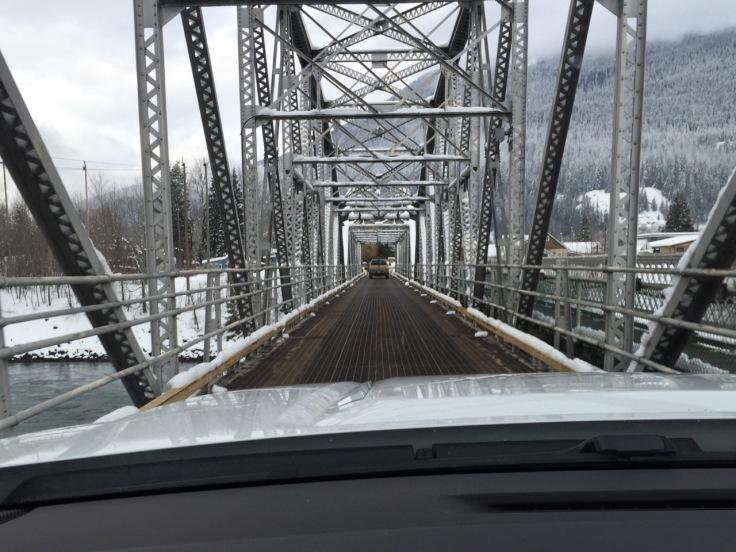 Old (black) bridge over the Columbia River in Revelstoke