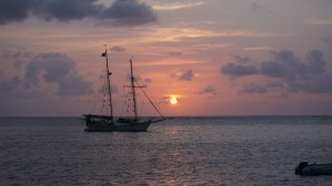 Dusk in the San Blas with a beautiful two mast schooner, sailed by a few young girls!