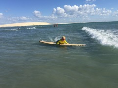 Max back at the surfboard in Jeri - a mellow, but incredibly long wave is a great training ground.